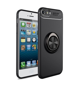 LENUO for iPhone SE/5s/5 inch Case [Metal Ring Bracket] TPU Case Built-in Magnetic Metal Sheet - All Black