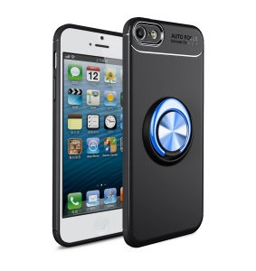 LENUO for iPhone SE/5s/5 inch Cover [Metal Ring Bracket] TPU Case Built-in Magnetic Metal Sheet - Black / Blue