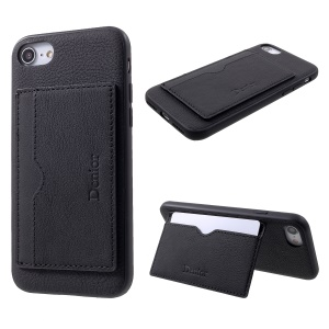 DENIOR Genuine Leather Skin TPU Card Holder Phone Case with Kickstand for iPhone 8 / 7 4.7 inch - Black