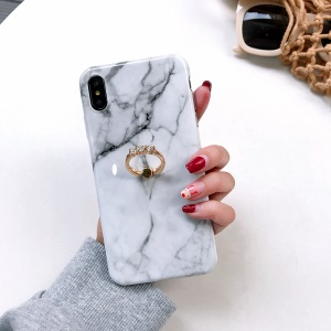 Marble Pattern IMD TPU Protection Cover for iPhone XS Max 6.5 inch with Finger Ring Kickstand - Style J
