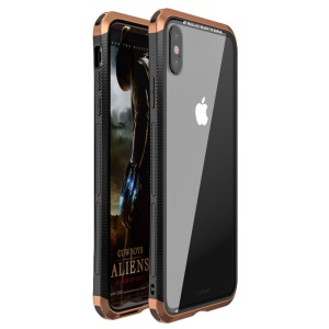 LUPHIE for iPhone X 5.8 inch Double Dragon Hybrid Phone Shell Tempered Glass Back + PC Metal Case - Brown