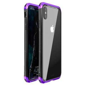 LUPHIE for iPhone XS Max 6.5 inch Double Dragon Tempered Glass Back + PC Metal Cover Casing - Purple