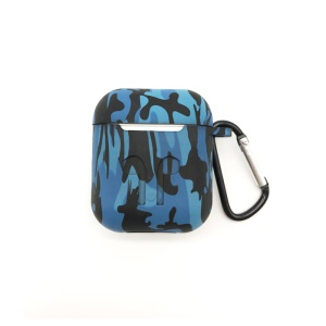 Shock-proof Silicone Protective Cover for Apple AirPods Charging Case with Carabiner - Blue Camouflage