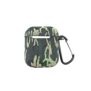 Shock-proof Silicone Protective Shell for Apple AirPods Charging Case with Carabiner - Green Camouflage