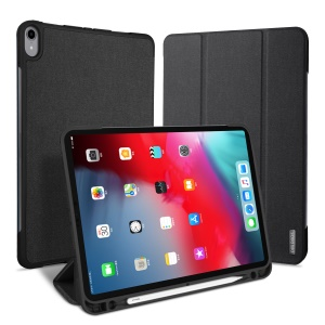 DUXDUCIS Domo Series Cloth Texture Tri-fold Stand Leather Smart Case for iPad Pro 11-inch (2018) - Black