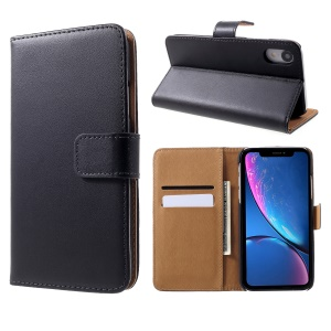 Genuine Split Leather Wallet Stand Case for iPhone XR 6.1 inch