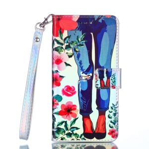 [Laser Carving] Patterned Leather Wallet Cover for iPhone XS/X 5.8 inch - Flowers and Legs
