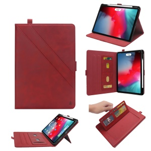 Multi-slot Stand Leather Case with Stylus Pen Slot for iPad Pro 11-inch (2018) - Red