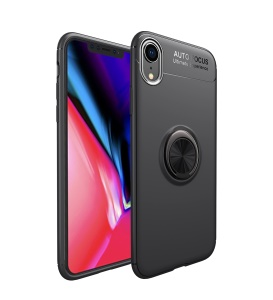 LENUO for iPhone XR 6.1 inch Metal Ring Bracket TPU Case Built-in Magnetic Metal Sheet - All Black