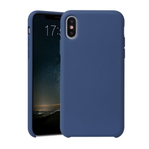 Liquid Silicone Mobile Phone Cover for iPhone XS/X 5.8 inch - Dark Blue
