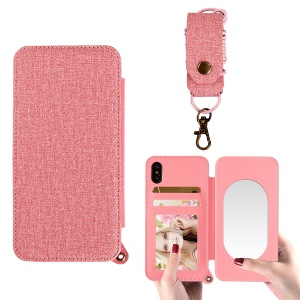 MUSUBO Jeans Cloth Leather Case with Mirror for iPhone XS 5.8 inch - Pink