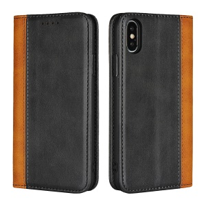 Bi-colour Splicing Magnetic Case Stand Leather Wallet Case for iPhone X - Black