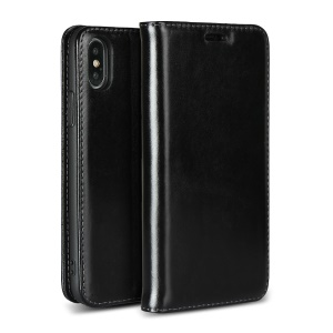 Genuine Leather Card Holder Phone Case for iPhone X - Black