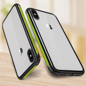 Color-bar Clear PC and TPU Hybrid Shockproof Case for iPhone XS/X - Green