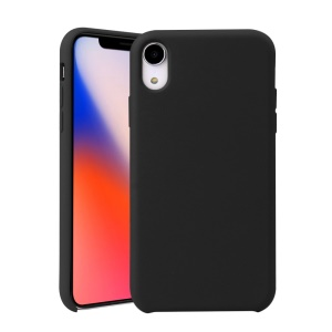 Rubberized Liquid Silicone Phone Case for iPhone XR 6.1 inch - Black