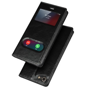 Dual View Window Genuine Leather Case for iPhone 8 / 7 4.7 inch - Black