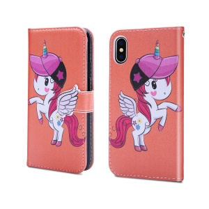 Unicorn Pattern PU Leather Flip Case [Mirror / Wallet / Stand] for iPhone XS / X 5.8 inch - Orange