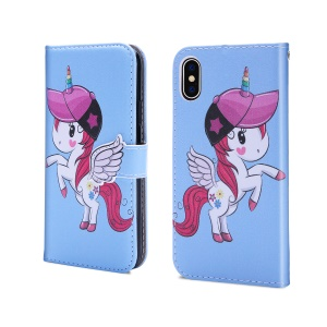 Unicorn Pattern PU Leather Magnetic Cover [Mirror / Wallet / Stand] for iPhone XS / X 5.8 inch - Blue
