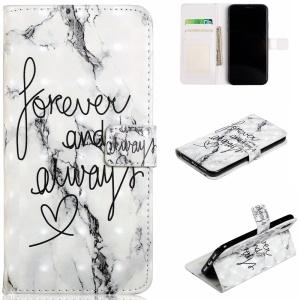 Light Spot Decor Patterned Embossed Leather Wallet Case for iPhone XR 6.1 inch - English Characters