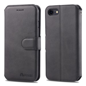 AZNS Wallet Leather Stand Case for iPhone SE (2nd generation)/8/7 - Black