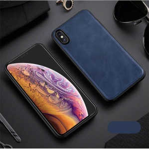 X-LEVEL Vintage Style PU Leather Coated TPU Shell Case for iPhone XS / X 5.8 inch - Blue