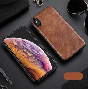 X-LEVEL Vintage Style PU Leather Coated TPU Protection Cover for iPhone XS Max 6.5 inch - Brown