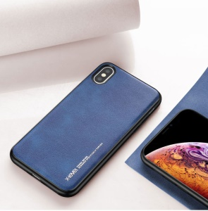 X-LEVEL PU Leather Coated TPU Back Case for iPhone XS Max 6.5 inch - Blue