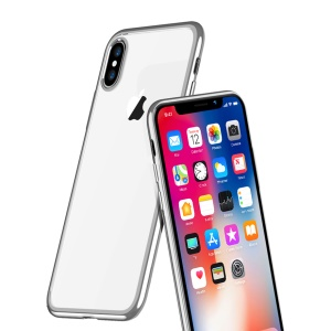 X-LEVEL Ultra-thin Electroplating Edges Soft TPU Casing for iPhone XS / X 5.8 inch - Silver