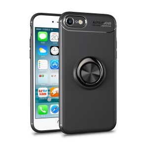 LENUO Metal Ring Kickstand TPU Case for iPhone 8/7 Built-in Magnetic Metal Sheet - All Black