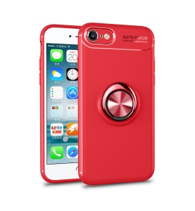 LENUO Metal Ring Kickstand TPU Shell Case for iPhone 8/7 Built-in Magnetic Metal Sheet - Red