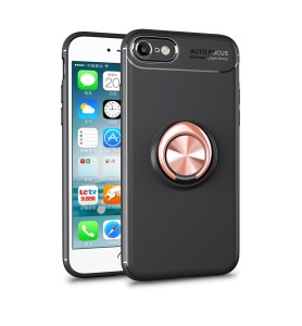 LENUO Metal Ring Kickstand TPU Mobile Phone Case for iPhone 8/7 Built-in Magnetic Metal Sheet - Black / Rose Gold