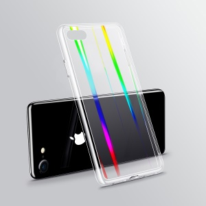 Laser Carving Glass Back + TPU Edge Combo Case for  iPhone 8 / 7 4.7 inch - Transparent