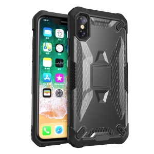 Shock Resistant PC TPU Hybrid Phone Casing for iPhone XS / X 5.8 inch - All Black