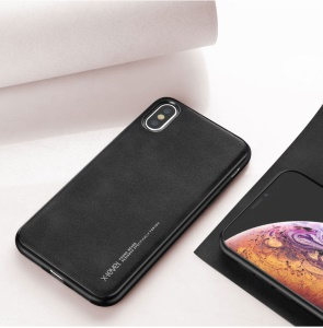 X-LEVEL PU Leather Coated TPU Protection Phone Cover for iPhone XS / X 5.8 inch - Black