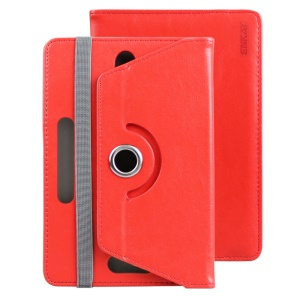 ENKAY Crazy Horse Leather Stand Case for Samsung Tab 4 7.0/Tab 3 7.0 Etc - Red