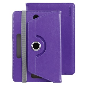 ENKAY Crazy Horse Leather Cover Case for Samsung Tab 4 7.0/Tab 3 7.0 Etc - Purple