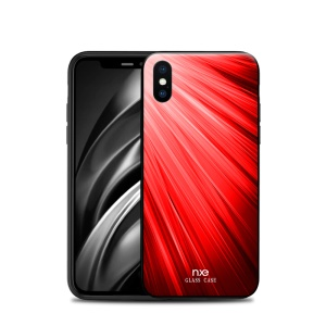 NXE Pattern Printing Glass TPU Combo Shell for iPhone XS Max 6.5 inch - Red