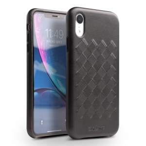 QIALINO Weave Pattern Leather Cell Phone Case for iPhone XR 6.1 inch - Black