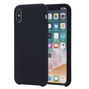 Edge Wrapped Liquid Silicone Cover for iPhone XS 5.8 inch - Black