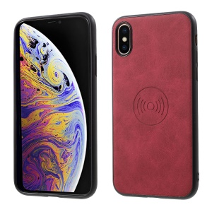 For iPhone XS / X 5.8 inch PU Leather Coated TPU Back Case (Built-in Magnetic Holder Metal Sheet) - Red