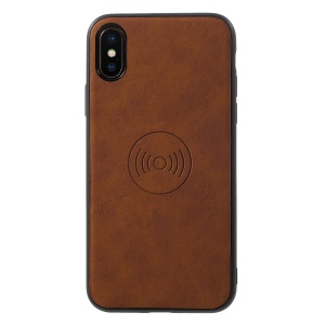For iPhone XS / X 5.8 inch PU Leather Coated TPU Mobile Phone Shell (Built-in Magnetic Holder Metal Sheet) - Brown
