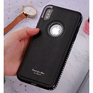 WK Rhinestone PU Leather Coated Hybrid Mobile Phone Case for iPhone XS / X 5.8 inch - Black