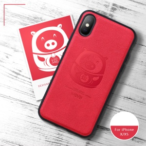 X-LEVEL Imprint Lucky Pig Pattern PU Leather Coated TPU Case for iPhone XS / X 5.8 inch - Red