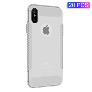 20Pcs/Set Pearl Series Naked Ultra-thin TPU Case [with Carbon Fibre Lines] for iPhone XS Max 6.5 inch - White