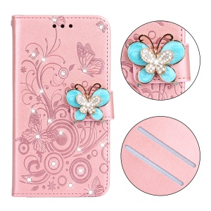 Leather Case for iPhone XR 6.1 inch / Imprint Flower Butterfly / Rhinestone / Stand - Rose Gold