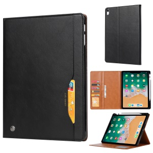 PU Leather Protection Flip Case with Card Slots for iPad Pro 12.9-inch (2018) - Black