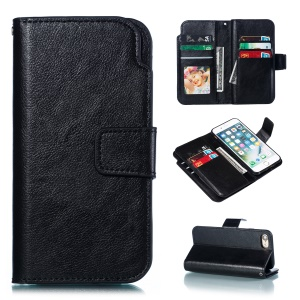 9 Card Slots Crazy Horse Leather Wallet Casing for iPhone SE (2nd generation)/8/7 4.7 inch - Black