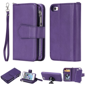 Detachable 2-in-1 TPU + Zipper Wallet Leather Phone Case for iPhone 5s/5/SE - Purple