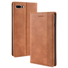 Vintage Style Leather Auto-absorbed Wallet Case for iPhone 8 Plus / 7 Plus 5.5 inch - Brown