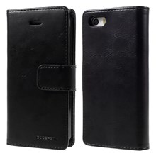MERCURY GOOSPERY Blue Moon para iPhone SE 5s 5 Wallet Leather Case - negro